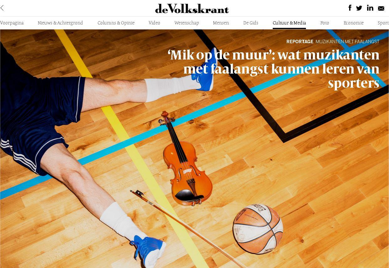 'Mik op de muur': wat muzikanten met faalangst kunnen leren van sporters (De Volkskrant)