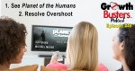 Women watch Planet of the Humans on TV