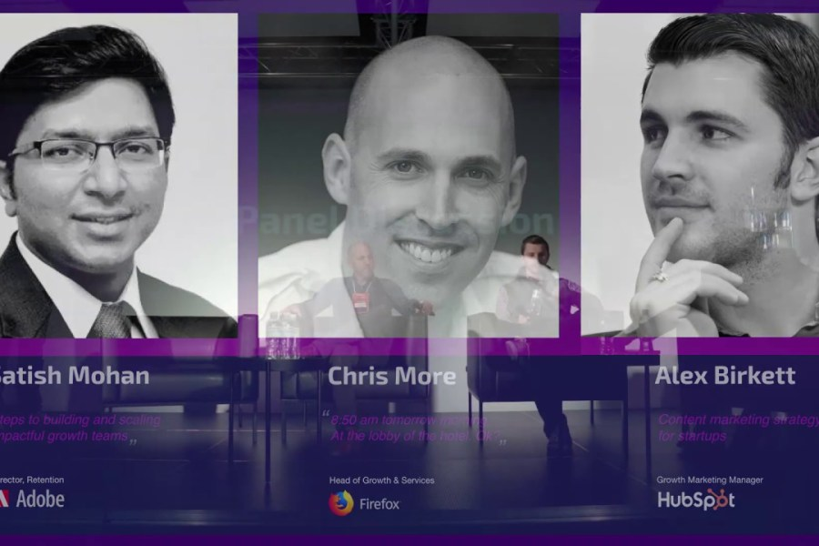 Panel Discussion on growth marketing adoption by growth leaders from Mozilla, Adobe and HubSpot