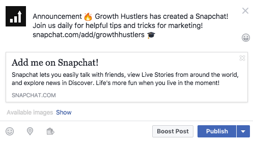 A complete guide on how to get snapchat followers growth hustlers take your snap code or add your personal link snapchataddgrowthhustlers to your statuses on facebook twitter and in your instagram bio ccuart Choice Image