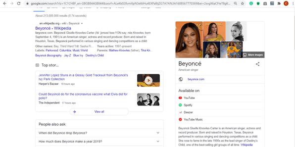 Panneau de connaissances Google