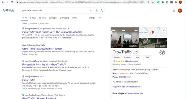 Panneau de connaissances Google GrowTraffic