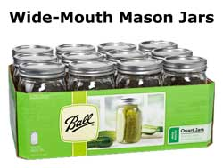 Wide-Mouth Mason Jars - Quart size (these are perfect for curing cannabis buds!)