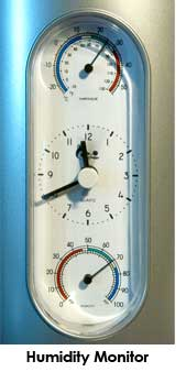 Use a humidity monitor alongside a humidifier / dehumidifier to keep control of the humidity in your grow room