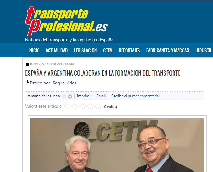 España y Argentina colaboran en la formación del transporte.