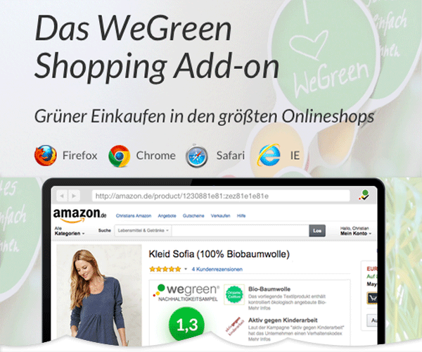 Grüner Einkaufen von Amazon bis Zalando mit dem WeGreen Shopping Add-on
