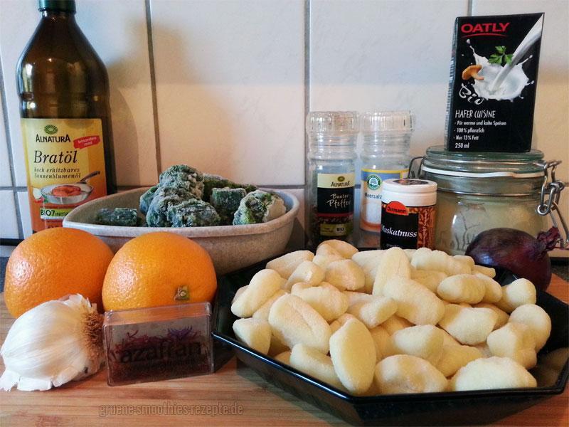 Die Zutaten für die Gnocchi mit Spinat in Safran-Orangen-Soße