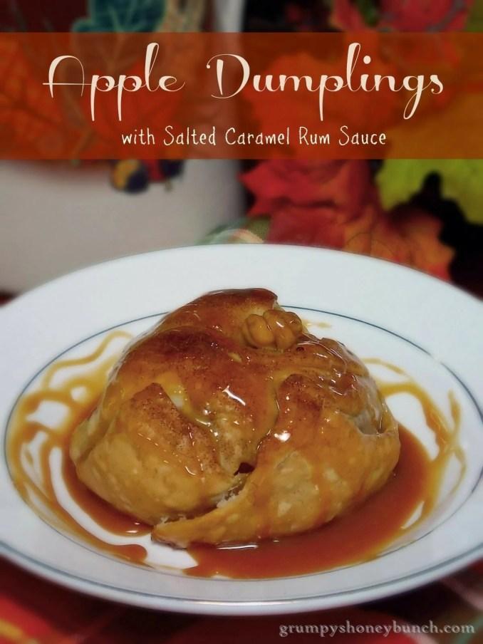 Apple Dumplings with Salted Caramel Rum Sauce #