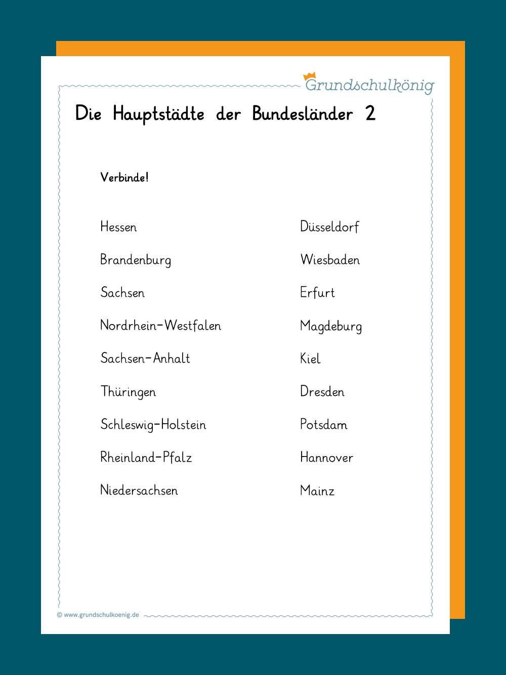 Bundesländer deutschland mit hauptstadt liste