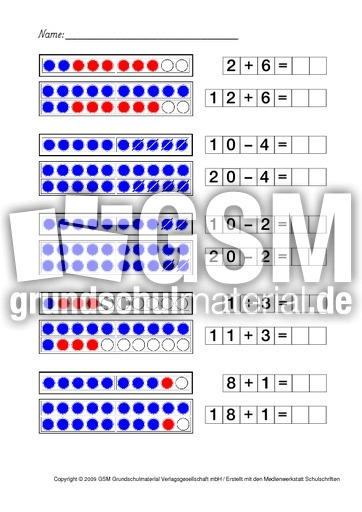 Verwandte Aufgaben Seite 1 17 Arbeitsbltter Zahlenraum