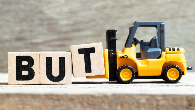 """Toy forklift taking away word """"But"""""""