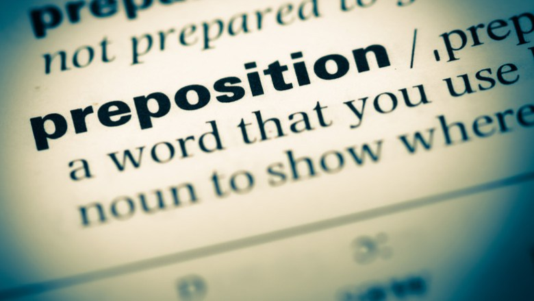 """Word """"preposition"""" in dictionary"""