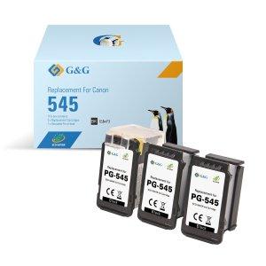 G&G Canon PG545 Negro Pack de 3 Cartuchos de Tinta Remanufacturados - Eco Saver - Muestra Nivel de Tinta - Reemplaza 8286B001/8287B001