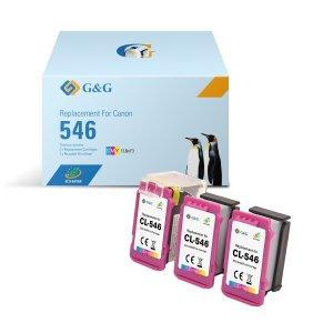 G&G Canon CL546 Color Pack de 3 Cartuchos de Tinta Remanufacturados - Eco Saver - Muestra Nivel de Tinta - Reemplaza 8288B001/8289B001