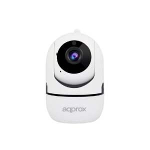 Approx Camara de Videovigilancia WiFi HD 720p - Rotacion 355º Inclinacion 90º - 2 Canales Audio - Microfono y Altavoz Integrado - Vision Nocturna - Color Blanco