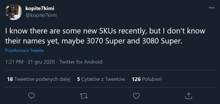 GeForce RTX 3080 Ti 20 GB and RTX 3060 12 GB on the way; Super models in plans