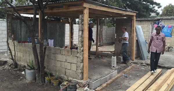 Kitchen being built in Haiti