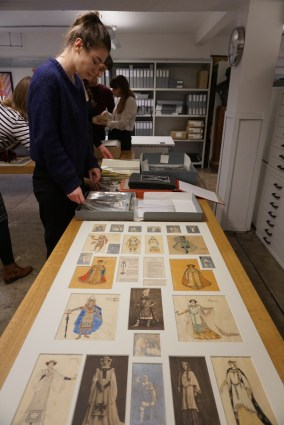 Materials laid out for the opening of the GSA Archives and Collections