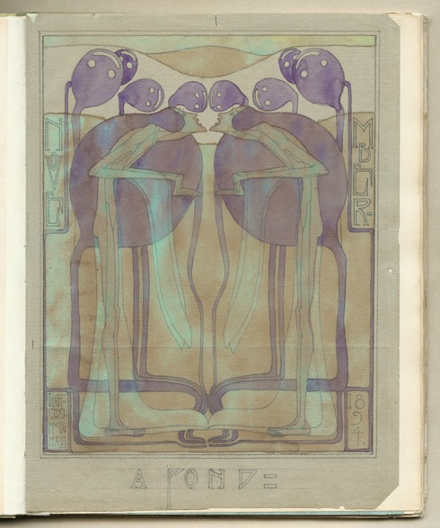 A typical example of the Glasgow Style is A Pond by Frances Macdonald, 1894, Glasgow School of Art Archives and Collections, Mackintosh Art, Design and Architecture Collection 1891-1985 (Archive reference MC/A/3)