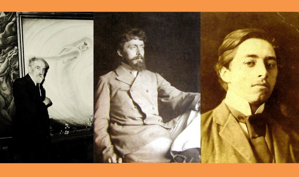 Belgian Symbolist Artists Jean Delville, Paul Artôt, and Georges Baltus who all taught at GSA during the 1900s. Image of Delville courtesy of Cultured. Images of Artôt and Baltus courtesy of The Flower and the Green Leaf, p.63 and 65.