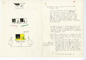 Technical note entitled 'Stereo television', describing the effect of stereoscopic vision, with diagram showing how the effect occurs, c1970s. (Archive Reference DC 090)