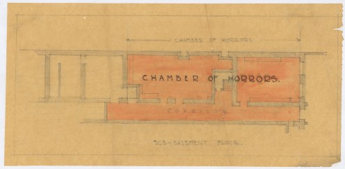 """One of the Home Front Activities that GSA was involved in during World War One was holding a Tryst to raise money for families in Belgium affected by war. As part of this, the school held a number of activities in the Mackintosh Building. This is a floor plan of the sub-basement which was turned into a """"Chamber of Horrors"""" for the Tryst, c1914-1915 (Archive Reference GSAA/SEC/30/1/2/12)"""