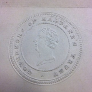 Embossed seal of the Haldane Trust's Board of Governors (Archive Reference: GOV/4/3/6)