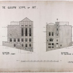 Design for Glasgow School of Art: elevation of Scott Street and Dalhousie Street, 1910 (Archive Reference: MC/G/88)