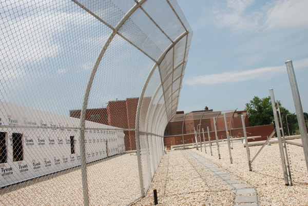 Curved Anti-Climb Fence on Rooftop