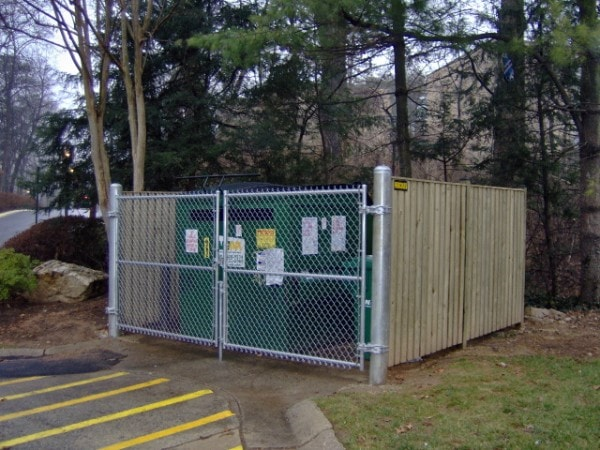 Wood Dumpster Enclosure with Chain Link Gate