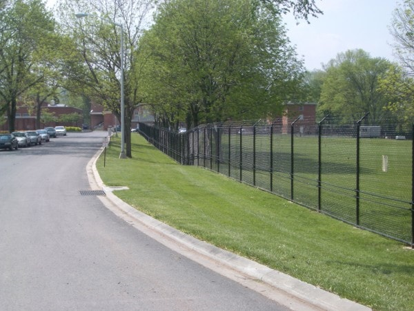 Black Vinyl Coated Chain Link Fence with Two Strand Cable System