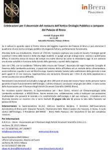 Comunicato stampa Palazzo di Brera Antico Orologio Pubblico a ca