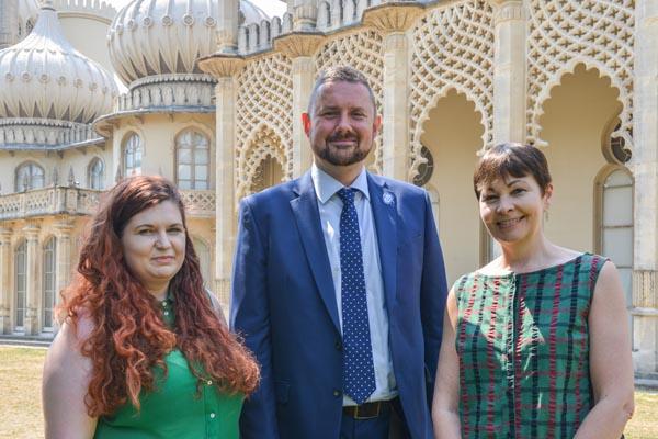 Hannah, Phélim and Caroline Lucas MP for Brighton Pavilion