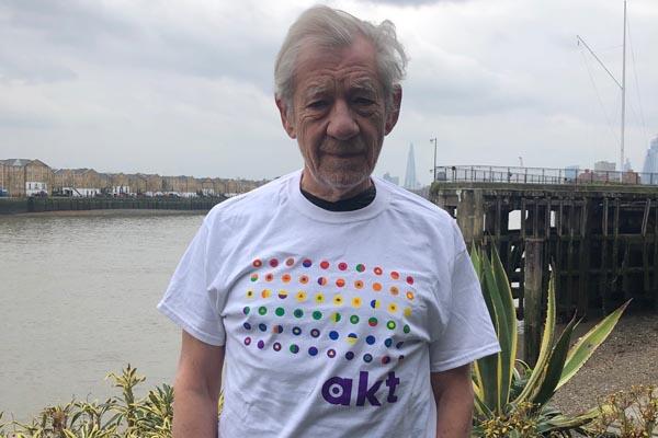 Sir Ian McKellen sports new akt branding