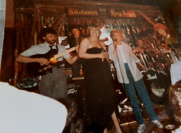The KDC band in the 1980's, drummer Crissy Lee, bass player, Karen Gibbs, guitar Jerry Dearden, saxophone Jennie Fraser with guest appearance from Terry Stevens and Krissie Ducann