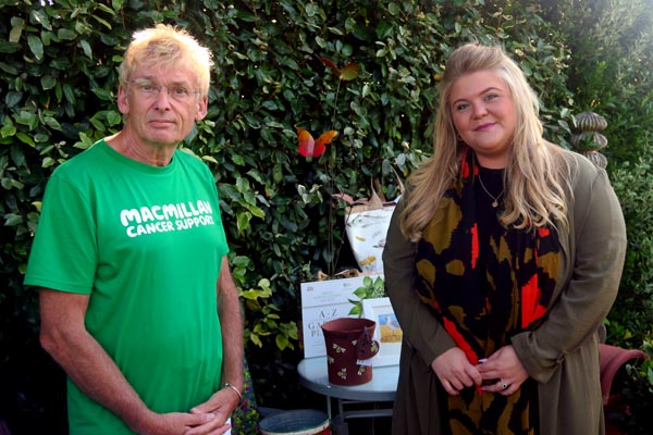 Geoff Stonebanks and Megan Gower, Area Fundraising Manager for Macmillan