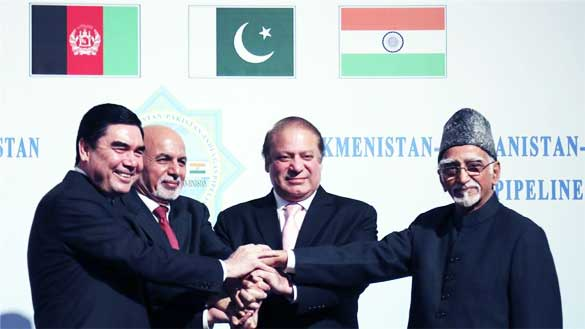 Leaders from Afghanistan, India and Pakistan converged in Turkmenistan to launch the 1,814km TAPI. Photo AP.