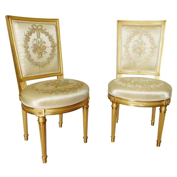 chaises de style louis xvi dorees