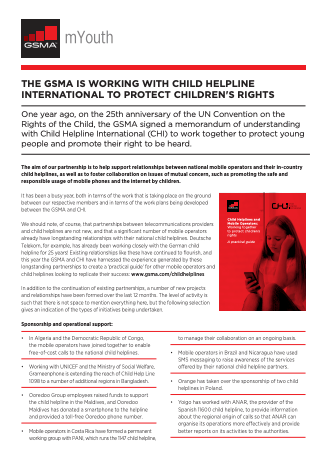The GSMA's Work with Child Helpline International to Protect Children's Rights: 2015 year in review image