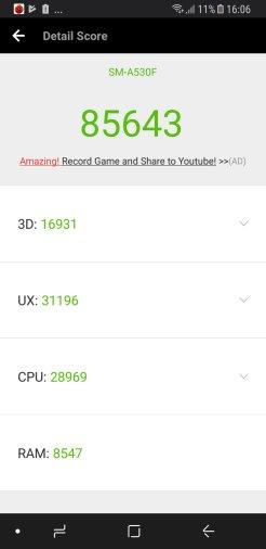Samsung Galaxy A8 (2018) - AnTuTu 6.0 / fot. gsmManiaK.pl