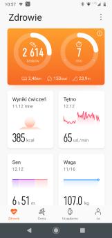 Huawei Zdrowie: ekran główny