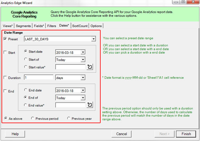 Selecting a Date Range in Analytics Edge
