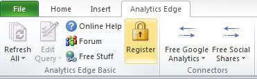 Registering Analytics Edge in Excel