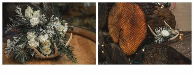 Winter Wedding at the Lookout Lodge in Snohomish bouquet and boutonniere white, blue, green, antlers, wood