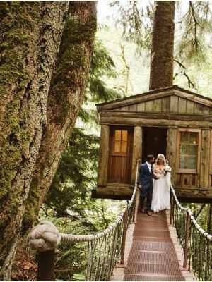 treehouse point elopement in fall city washington in spring with blush pink and navy details , lehenga, cairn, and a bundt cake