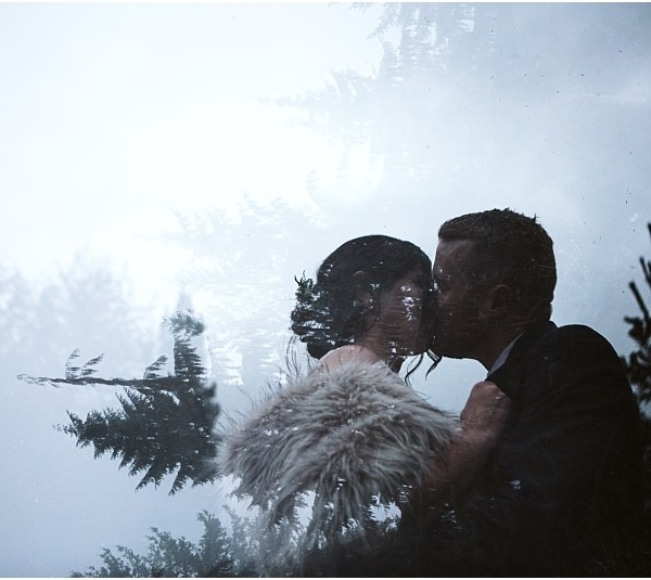 gold creek pond north cascades pnw elopement double exposure bride and groom evergreen trees