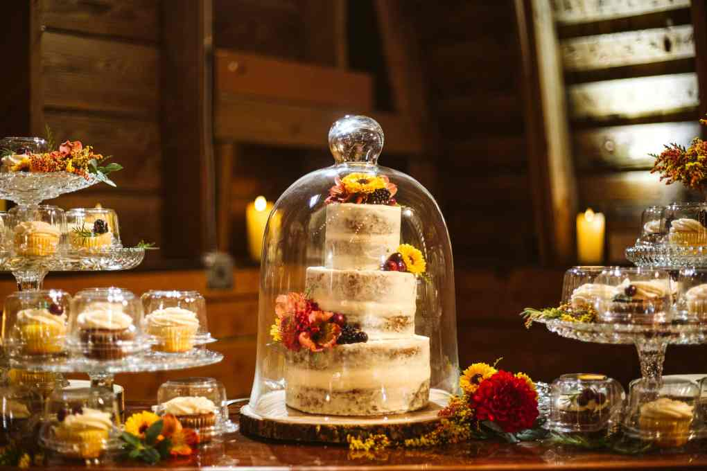 socially distanced reception with individually packaged cupcakes and wedding cake inside a cloche for covid pandemic restrictions