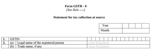 GSTR-8 details of taxpayers