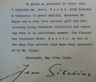 Letter of Reference from Sibelius