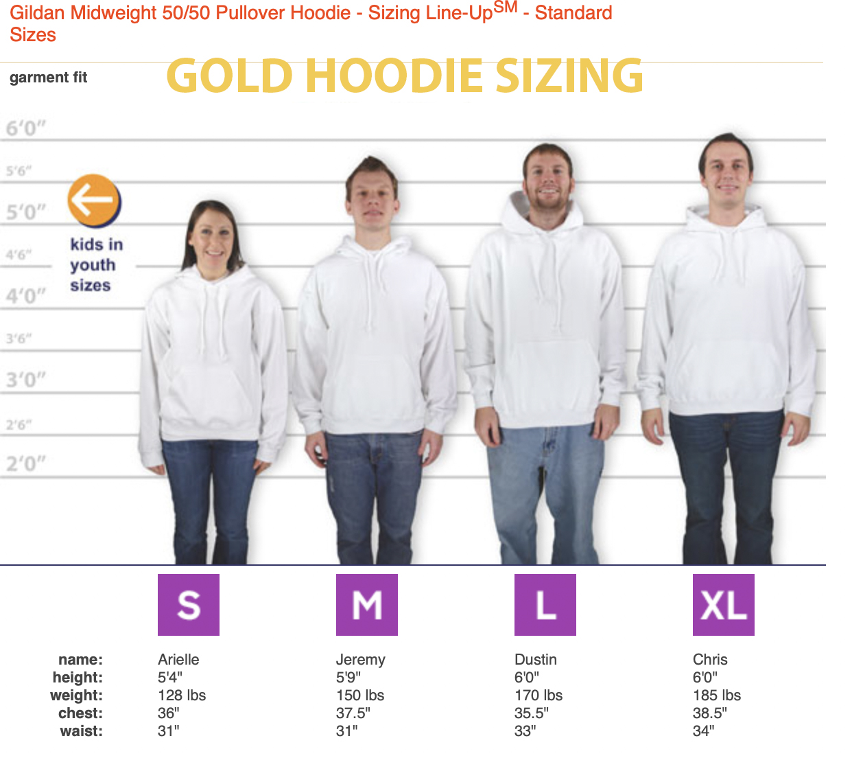 gold hoodie sizing